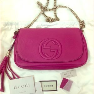 NWT Gucci soho medium pink flap crossbody